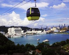 Cable car from Mount Faber on Singapore's main island to the adjacent beach resort of Sentosa.
