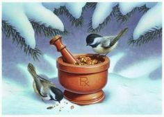 Captivating and detailed, the artwork created by Richard Cowdrey exclusively for eMedDecor is available in print form ready for the framing of your choice. Print features a snowy treat of birdseed in a mortar & pestle amongst the trees.