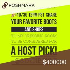 Looking for Host Picks! Best in Shoes and Boots 👢 I'm co-hosting the Best in Shoes and Boots party 10/30 at 12pm PST 👠👡👢👟 Please share a couple of your favorites to my dressing room to be considered for a host pick. Preference given to new closets and your closet must be Posh Compliant. Let's have some fun!! 🎉🎈🎊 Shoes
