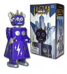 Made by Schylling. Elektra the Robot Girl is a rarity among Tin Windup toys, she is a female robot - you don't see many around.     Some think she's beautiful, some think she is scary. But, we believe that she will make a great companion for the Proton Man Tin Toy.    Wind her up and watch her go! As Electra walks, she moves her arms up and down. In her right hand she carries a lightning bolt and has an on/off switch in her waist