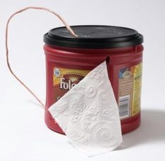 Use a coffee can to hold and protect toilet paper. won't need this, this year because we aren't exactly roughing it but it is a great idea