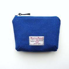 Blue wool makeup bag, Harris Tweed cosmetics case, padded with waterproof lining £20.00