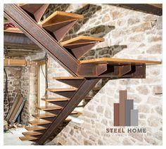 escalier 1/4 tournant acier et chêne