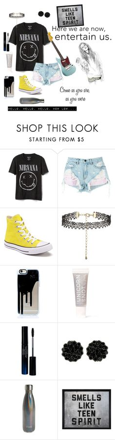 """""""Nirvana tribute-Smells Like Teen Spirit & Come as You are"""" by mystical-dimples ❤ liked on Polyvore featuring Gap, Alexander Wang, Converse, New Look, FCTRY, Shiseido, S'well and Hatcher & Ethan"""
