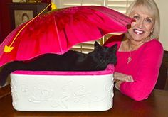 """The Umbrella Pet Bed, designed for cats and small dogs, 16"""" x 16"""" x 7"""" poly base, with custom made pink suede-cloth"""