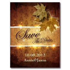 Damask Golden Leaves glamorous Fall Wedding Postcard