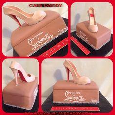 Fondant Christian Louboutin stiletto shoe with shoe box birthday cake.