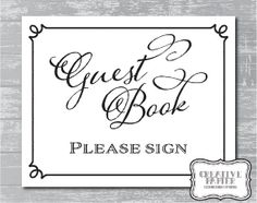 INSTANT DOWNLOAD... Guest Book Sign 8x10 DIY by CreativePapier, $4.00