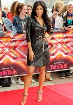 Nicole Scherzinger wore a leather trench coat for The X Factor 2013 auditions in London.