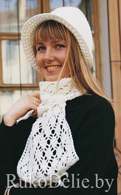 Шляпка-капор и шарф, вязаные крючком - diagram