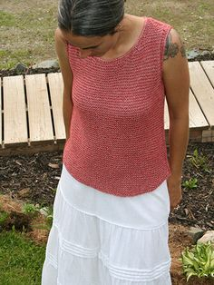 Knitting - Patterns for Wearables - Shell & Tank Patterns - Elements Sleeveless Top  Cute....I think I have that same skirt.
