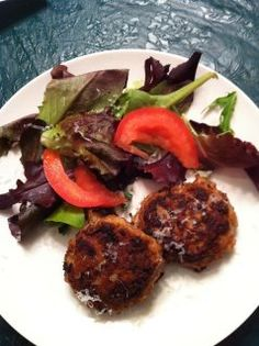 Turkey Burgers ~   * 1 tablespoon extra-virgin olive oil  * 1 medium onion, finely chopped  * 1 lb ground turkey, I used Jennie-O  * 1/3 cup almond meal  * 2 eggs, beaten  * Handful of fresh parsley or about 1 tablespoon of dried parsley  * Pinch of salt or seasonings to taste  * Extra-virgin olive oil for frying