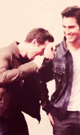 Kind of too cute not to pin. Dylan O'Brien and Tyler Hoechlin GIF - click through to see it move