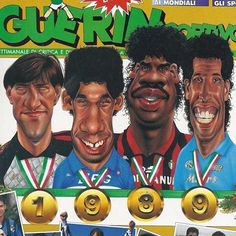 Walter Zenga Gianluca Vialli Franklin Rijkaard and Antonio Careca in this 1989 Serie A presentation draw on 'Guerin Sportivo' cover by mundialstyle