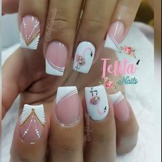 Gel Manicure Designs, Diy Nail Designs, Nail Polish Designs, White Nails, Pink Nails, Gorgeous Nails, Pretty Nails, Sunflower Nails, Glittery Nails
