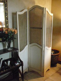 Antiqued Country French Style Room Divider with cane inserts