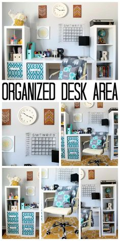 This organized desk area is perfect for a teen room! Get great ideas for organizing a desk or home office on a budget! This organized desk area is perfect for a teen room or home office. Add some of these ideas to your home for great modular storage! Home Office Design, Home Office Decor, Home Decor, Office Ideas, Organizing Ideas For Office, Office Table, Diy Teen Room Decor, Office Furniture, Office Floor