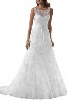 Angel Bridal Traumhaft lang Rund Schleife Band Spitze Hochzeitskleid Brautkleid Brautmode Angel Bridal Store, http://www.amazon.de/dp/B00H4UP9J6/ref=cm_sw_r_pi_dp_UZZ-sb1XFDFPK