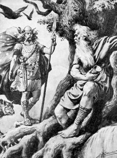"Mímir (Old Norse ""The rememberer, the wise one"") or Mim is a figure in Norse mythology renowned for his knowledge and wisdom who is beheaded during the Æsir-Vanir War. Afterward, the god Odin carries around Mímir's head and it recites secret knowledge and counsel to him."