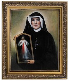 Saint Faustina Print Under Glass In Frame In ornate gold frame. The Divine Mercy image is a depiction of Jesus based on the devotion initiated by Saint Faustina Kowalska. A beautiful Catholic image. ""