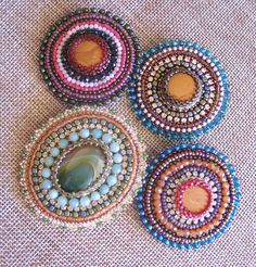 Bead Embroidery Brooch pink brown green beaded beaded jewelry