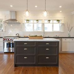 Black Kitchen Island White Marble Countertop, Transitional, kitchen, Nerland Building and Restoration
