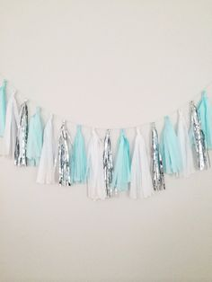 Tiffany Mint Blue and Silver Tassel Garland- Party Decor, Wedding Decor, Birthday Party, Photo Backdrop, Baby Shower and Party Decoration on Etsy, $27.00