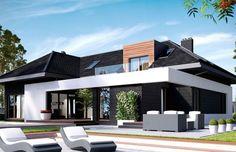 Projekt domu z poddaszem HomeKoncept 13 Modern Bungalow House Design, Modern Bungalow Exterior, Duplex House Design, House Front Design, Dream House Exterior, Beautiful House Plans, Dream House Plans, Modern House Plans, Suburban House