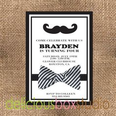 Mr. Mister Little Man with Bow Tie Party Invitation - DIY, digital, printable file - Delicious Box Studio. $12.00, via Etsy.