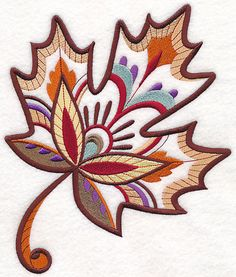 2 Fall Autumn Maple leaf colorful  embroidered fabric quilt blocks