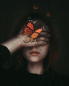 """Butterfly Effect"" - Art Digital Art Girl, Digital Portrait, Art Sketches, Art Drawings, Arte Obscura, Photo Portrait, Butterfly Art, Surreal Art, Aesthetic Art"
