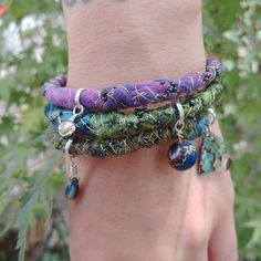 """""""Oceanic Jewels"""" Silk-Wrapped Bracelet — Star Magnolias Felted Jewelry, Silk Wrap Bracelets, Magnolias, Cool Tones, Abalone Shell, Stone Carving, Vintage Sewing, Wearable Art, Ocean"""