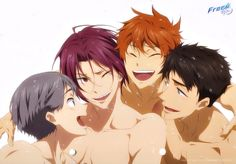 Eternal Summer Aiichiro, Rin, Momotaro et Sōsuke Makoharu, Momotarou Mikoshiba, Makoto, Splash Free, Free Eternal Summer, Free Iwatobi Swim Club, Free Anime, Original Art, Sketches