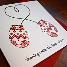 letterpress card ... winter theme ... white base with red and black ,,, clean and simple ... image of nordic mittens tied together with the string looping into a bow ... luv it! ... can hand draw the string between two stamped or cut out mittens ,,,