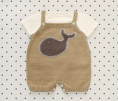 Knitted overalls in camel with a whale. 100% cotton. by tenderblue