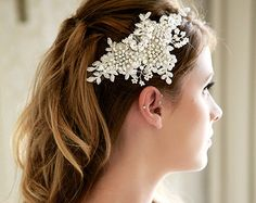 Crystal and Lace Ivory Wedding Headpiece Lace by GildedShadows