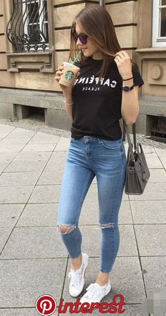100+ blouse + ripped jeans #falloutfits #skirtoutfits #winter   100+ blouse + ripped jeans #falloutfits #skirtoutfits #winter