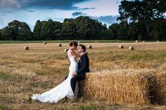 Vintage wedding with hay bales