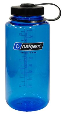 """Nalgene Tritan Wide Mouth Water Bottle, 32oz The first thing he realized he forgot. Good for dorm, working out, PE. Also, the water fountain water in the dirms has a strange chlorinated taste. He fills this up at the cafeteria, or gym for """"drinkable"""" water."""