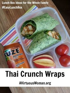 This Thai Crunch Wrap tastes ah-mazing! Easy Lunch Boxes, Lunch Box Recipes, Thm Recipes, Delicious Vegan Recipes, Snack Recipes, Cooking Recipes, Lunch Meals, Lunchbox Ideas, Healthy Recipes