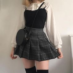 Rating for Japanese Kawaii Shirt + Plaid Pleated Skirt - Frauen Outfit Ideen - Trends 2020 Hipster Outfits, Edgy Outfits, Mode Outfits, Fashion Outfits, Fashion Ideas, Korean Skirt Outfits, Japanese Outfits, Womens Fashion, Summer Outfits