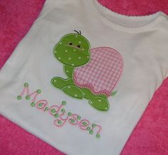 Girl+Turtle+Applique+Shirt+or+Onesie+by+momof5hs63+on+Etsy,+$22.00