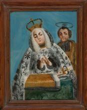 Escuela española del siglo XIX La Sagrada Familia, La Última Cena y San Francisco de Paula Tres pinturas bajo vidrio