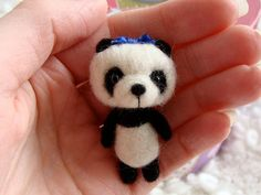 A cute miniature needle felted panda pet for by LoveableTreasures, $28.00