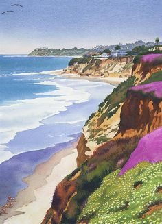 Mary Helmreich WATERCOLOR North County Coastline Painting