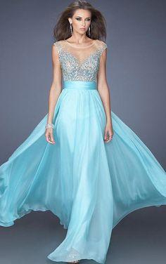 A-line Cap Sleeves Jewel Yarn Floor-length Blue Chiffon Prom Dresses