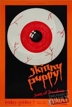 Skinny Puppy Poster Fillmore Auditorium (San Francisco, CA) Oct 1988 Tour Posters, Band Posters, Music Posters, Film Posters, Fillmore Auditorium, Punk Poster, Gig Poster, Skinny Puppy, Texts