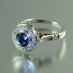 THE SECRET DELIGHT 14k gold Blue Sapphire engagement by WingedLion, $2150.00