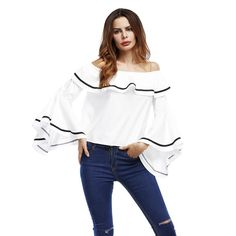 Women's Clothing Brave Summer Sexy Women Off Shoulder Tops Blouse Shirts Strapless Backless Puff Sleeve Ruffles Peplum Sexy Lady Korean Style Cloth