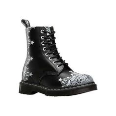 Women's Dr. Martens Pascal Lace 8 Eye Boot - Black Smooth Casual ($155) ❤ liked on Polyvore featuring shoes, boots, black, casual, leather boots, black lace-up boots, goth boots, lace boots, goth shoes and black slip resistant shoes